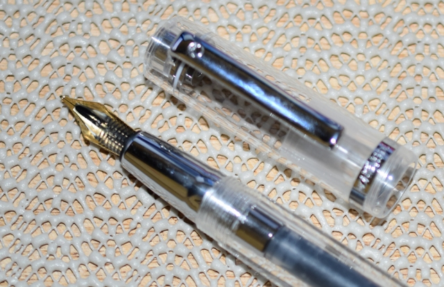 Bottom view of the transparent feed and nib.