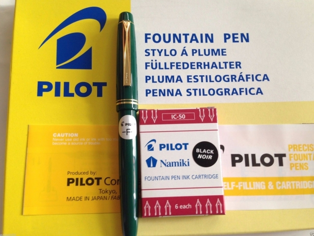 Pilot 78g Fountain Pen Fine nib Green + 1 IC-50 black ink cartridge. eBay leeleehihi (HK) 2/23/16 $10.99 + $2.50 SH
